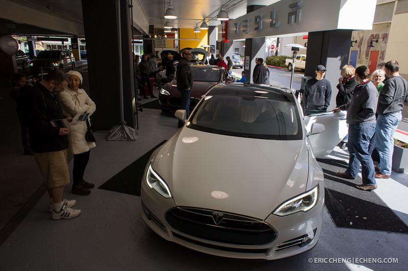 4 Tesla Model S beta vehicles at Santana Row, San Jose, on March 18, 2012