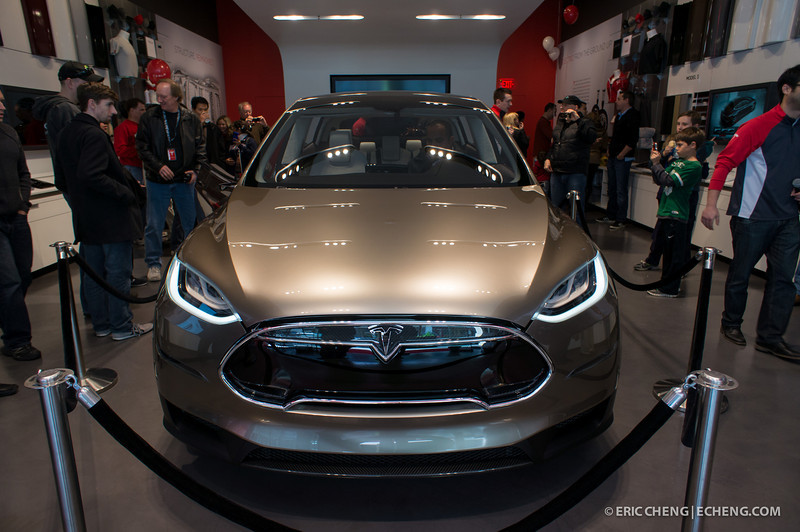 Telsa Model X prototype at Santana Row, San Jose on March 18, 2012