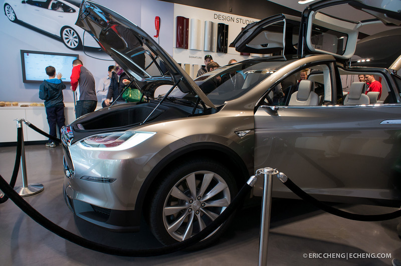 "The ""frunk."" Telsa Model X prototype at Santana Row, San Jose on March 18, 2012"