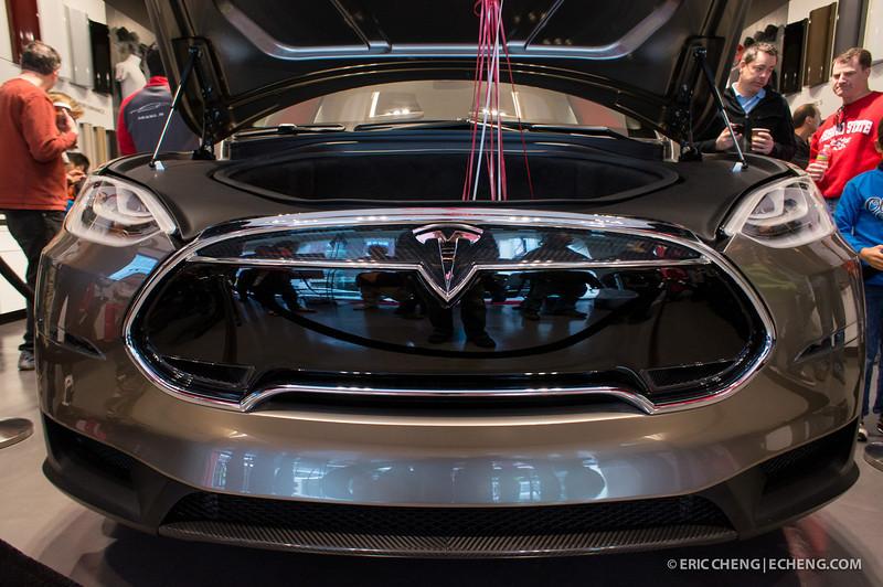 Telsa Model X prototype at Santana Row, San Jose on March 18, 2012