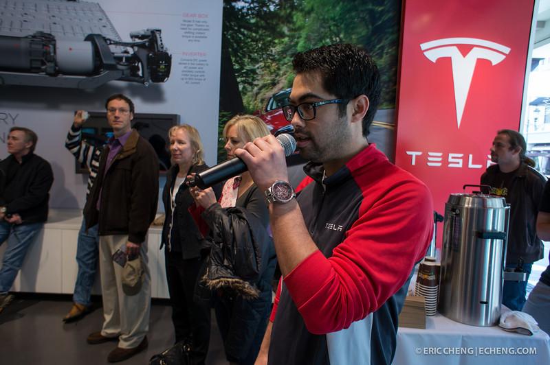 Telsa spokesperson giving talks about the Model X