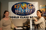 Publicist Bridgit Summers and Vienna Teng at KFOG in San Francisco