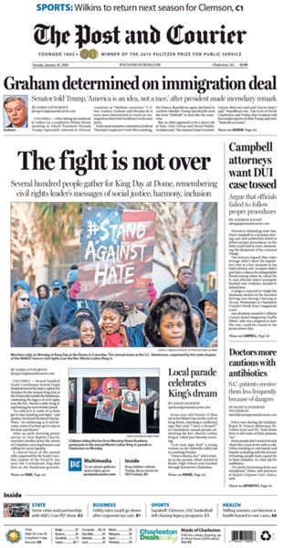 January 16, 2018 Cover of The Post and Courier