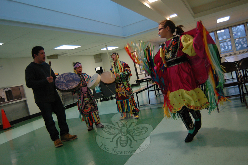 Members of the Little Thunderbirds Drum and Dance Troupe from Minnesota performed on Friday, December 21, as part of a delegation from the Red Lake Reservation that visited Newtown to support and console community members following the December 14 Sandy Hook School tragedy. (Hallabeck photo)