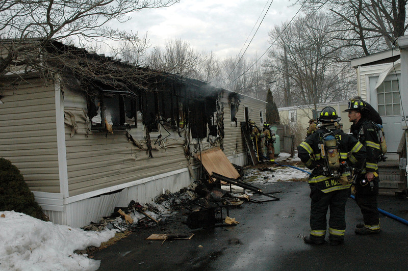 An accidental fire destroyed a mobile home on Wednesday afternoon at the Newtown Village Mobile Home Park at 301 South Main Street (Route 25) in Botsford. Members of six volunteer fire companies responded to the blaze. There were no injuries. (Gorosko photo)