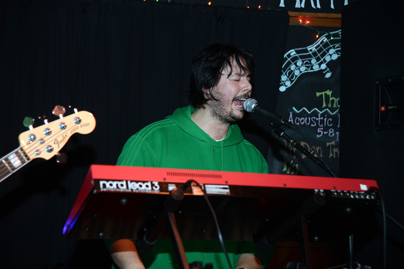 "On the keyboards was Todd Stoops when the band Kung Fu out of New Haven played for a full house at The One Eyed Pig during a ""healing through music"" concert Saturday, January 5. (Bobowick photo)"