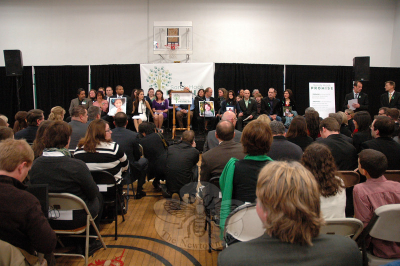 Sandy Hook Promise, a Newtown-based public advocacy group that is working to prevent any more incidents such as the December 14 shootings at Sandy Hook Elementary School, held a press conference on Monday, January 14, which filled the Edmond Town Hall gymnasium.  (Gorosko photo)