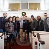 "Casting Crowns, one of the bands performing at this week's special ""A Night of Hope & Healing,"" were joined by some of their family members when they met with Pastor Jim Solomon Tuesday afternoon at The Meeting House. The band was on its way to Bridgeport for the special event, which was free and open to families and children. ""They came from Atlanta to bless Newtown and bless our community,"" said Mr Solomon, pastor of New Hope Community Church. The group gathered in a circle and linked arms to briefly pray for the community's process of healing. The evening of January 15 promised a message for hope and healing, and included both music, speakers, and prayer on behalf of Sandy Hook. Band members, from left, are Juan and Melodee DeVevo, Megan Garrett, Brian Scoggin, Pastor Solomon, Mark and Melanie Hall, Chris Huffman, Darren Hughes, and Josh Mix. (Bobowick photo)"