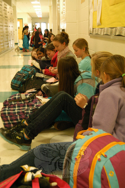 Reed Intermediate School students were lined up in a hallway on Tuesday, January 8, waiting to audition for the school's upcoming May production of The Wizard of Oz. Tuesday was the first of three scheduled audition days last week. (Hallabeck photo)