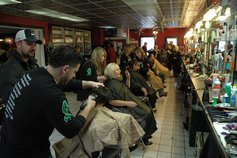 During a 12-hour period on Sunday, January 13, at the Sandy Hook Hair Company, 24 hair stylists from 12 salons participated in a fundraising project intended to memorialize the victims of the December 14 shootings at Sandy Hook Elementary School. The project raised $6,547. The funds are planned to be used toward creating a memorial statue.  (Gorosko photo)