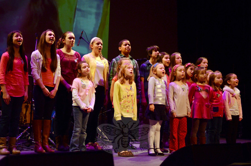 "Hot on the heels of their recording session and release, The Children of Newtown children performed ""Over the Rainbow,"" as a finale to the January 19 Concert for Hope & Healing, which has so far raised almost $60,000 towards a memorial park and carousel, as well as a fund to support victims and first responders seeking counseling following the 12/14 tragedy. (Voket photo)"
