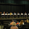 Newtown Middle School students participated in the school's National Geographic Geography Bee on Wednesday, January 23, with NMS Principal Diane Sherlock, left, reading each question. (Hallabeck photo)