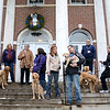 Standing on the Edmond Town Hall steps this week were the Lutheran Church Charities comfort dogs and volunteers from Illinois, from left, Patti Milazzo and Addie, Lynn Burke and Luther, Dona Martin, Sharon Fleherty and Maggie, Bri Niezgoda and Kathleen Joza-Kung with Abbi, Frank Milazzo and puppy Isaiah, Rich Martin with Ruthie, and Barb Granado with Hannah. (Bobowick photo)