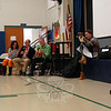From left, Katie Davis, Vincent X. Kirsch, Daniel Kirk, and Tracy Dockray gave a presentation to an all-student assembly at Hawley Elementary School on Tuesday, February 13. (Hallabeck photo)