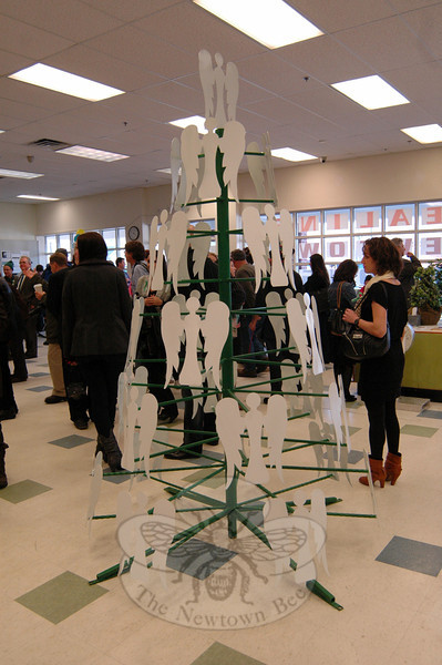 The HealingNewtown Art Space was filled with people, looking at art on display, talking between themselves, and participating in activities before Governor Dannel P. Malloy, Newtown First Selectman Pat Llodra, and Newtown Cultural Arts Commission Chair Jennifer Johnston spoke at the space's grand opening on Thursday, February 14. (Hallabeck photo)
