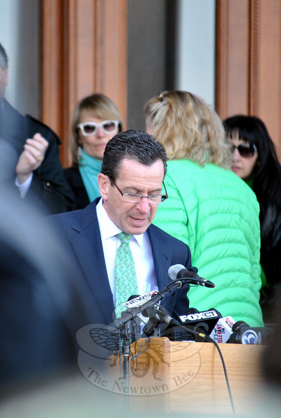 "Governor Dannel Malloy issues an impassioned speech at the March for Change, decrying a frustration ""When simple votes are blocked,"" and vowing ""We will not rest"" until changes are made to current gun laws, as demanded by the 5,500 people present at the rally. (Crevier photo)"