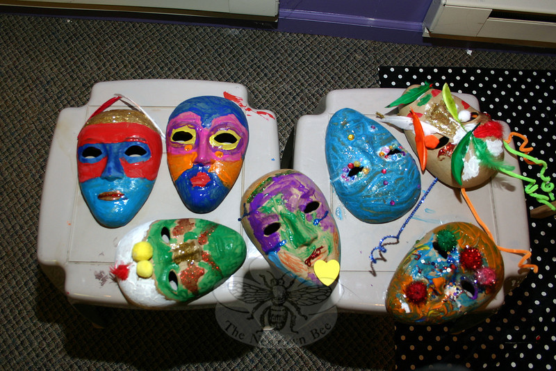 The Sandy Hook Arts Center for Kids (SHACK) hosted Fat Tuesday Mask & Merry Making fun on February 12. Children who participated were invited to decorate masks with paint, feathers, beads, pipe cleaners, and other decorative accessories. (Hicks photo)