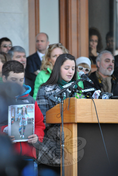 Jillian Soto, sister of slain Sandy Hook School teacher Victoria Soto, pleads for support to prevent guns from getting into the wrong hands. The rest of her life will be led without her sister at her side, says Ms Soto, a situation she does not wish any other person to endure. (Crevier photo)