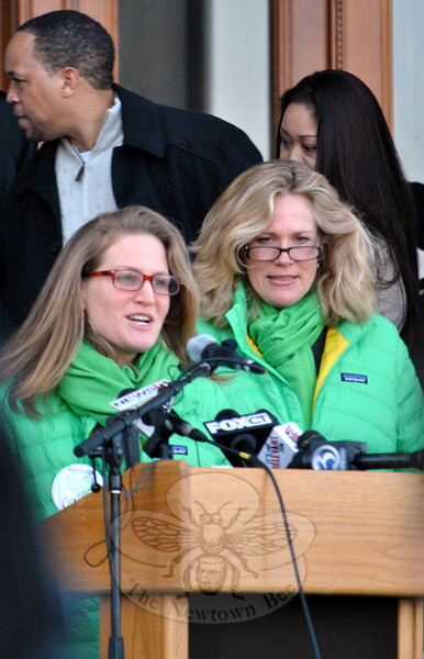 Meg Staunton and Nancy Lefkowitz, founders of March for Change, welcome marchers to the rally at the State Capitol, saying Connecticut has reached a tipping point with the incident at Sandy Hook School, and demanding changes in current gun laws. (Crevier photo)