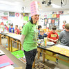 Second grade teacher Tanya LaBonia wears her decorative hat and shirt celebrating the number 100 recently at Middle Gate School, for the school's 100th day of school celebration, held on Wednesday, February 20. (Bobowick photo)