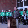 Senator Chris Murphy speaks at a rally held at Reed Intermediate School on Saturday, March 9, to send off Team 26 on a 400 mile cycling journey to Washington, D.C. (Hallabeck photo)