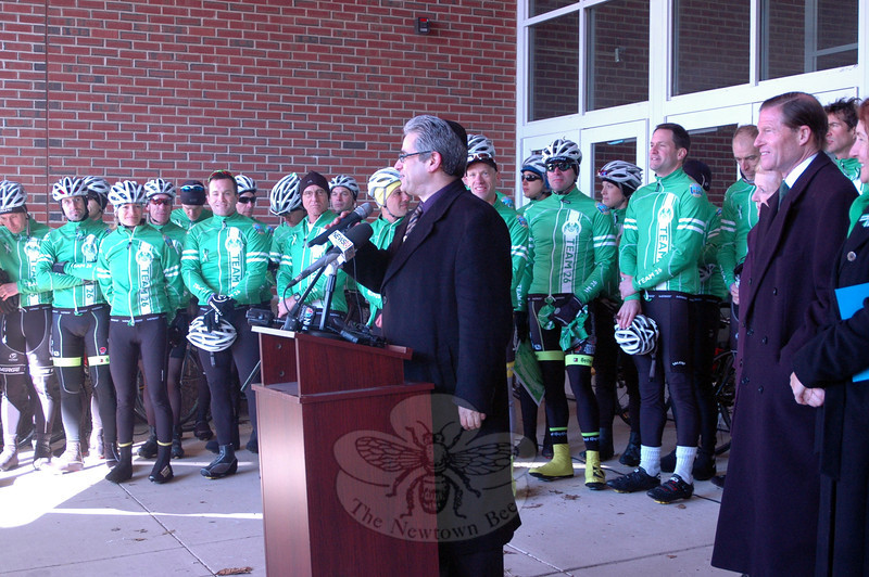 Congregation Adath Israel Rabbi Shaul Praver spoke at a rally held at Reed Intermediate School on Saturday, March 9, to send off Team 26 on a 400 mile cycling journey to Washington, D.C. (Hallabeck photo)