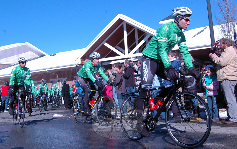 Members of Team 26 began their journey from Newtown to Washington, D.C., with a rally at Reed Intermediate School on Saturday, March 9. (Hallabeck photo)