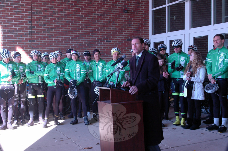 Senator Richard Blumenthal speaks at a rally held at Reed Intermediate School on Saturday, March 9, to send off Team 26 on a 400 mile cycling journey to Washington, D.C. (Hallabeck photo)