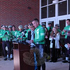 Lynn and Chris McDonnell, parents of Grace McDonnell, one of the student victims on 12/14, at a rally held at Reed Intermediate School on Saturday, March 9, to send off Team 26 on a 400 mile cycling journey to Washington, D.C. (Hallabeck photo)