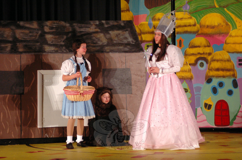 Talia Hankin, left, and Kyra Alvarez performed during a dress rehearsal for the Newtown Middle School upcoming production of The Wizard of Oz was held on Tuesday, March 12. (Hallabeck photo)