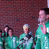 Congressman Jim Himes speaks at a rally held at Reed Intermediate School on Saturday, March 9, to send off Team 26 on a 400 mile cycling journey to Washington, D.C. He also rode with Team 26 for part of its journey. (Hallabeck photo)