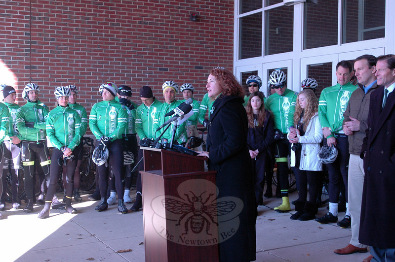 Congresswoman Elizabeth Esty speaks at a rally held at Reed Intermediate School on Saturday, March 9, to send off Team 26 on a 400 mile cycling journey to Washington, D.C. (Hallabeck photo)