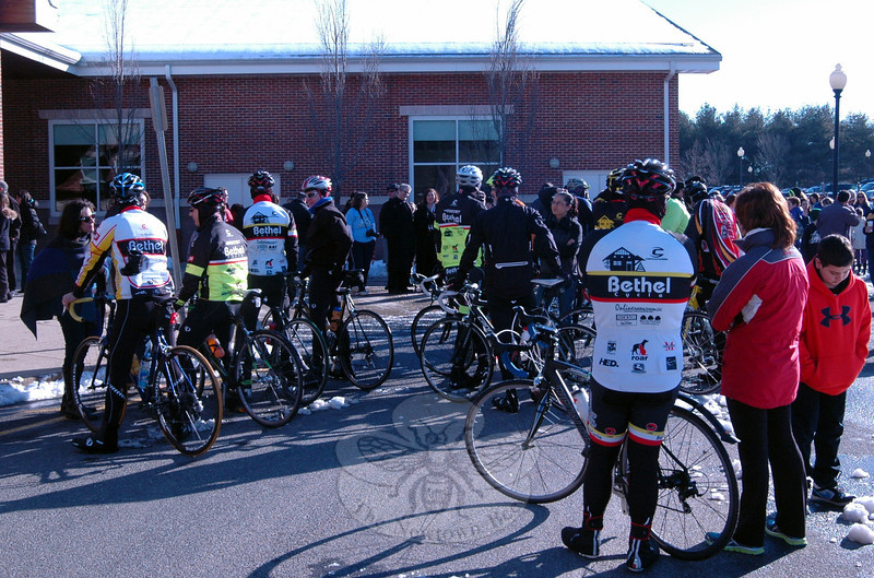 Supporting riders gathered at Reed Intermediate School on Saturday, March 9, before a rally to send off Team 26 on a 400 mile cycling journey to Washington, D.C., was held. (Hallabeck photo)