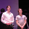 Kyle Watkins as Mr Twimble, left, and Taylor Varga as J. Pierrepont Finch perform during a rehearsal for the Newtown High School upcoming production of How To Succeed In Business Without Really Trying was held on Friday, March 15. (Hallabeck photo)