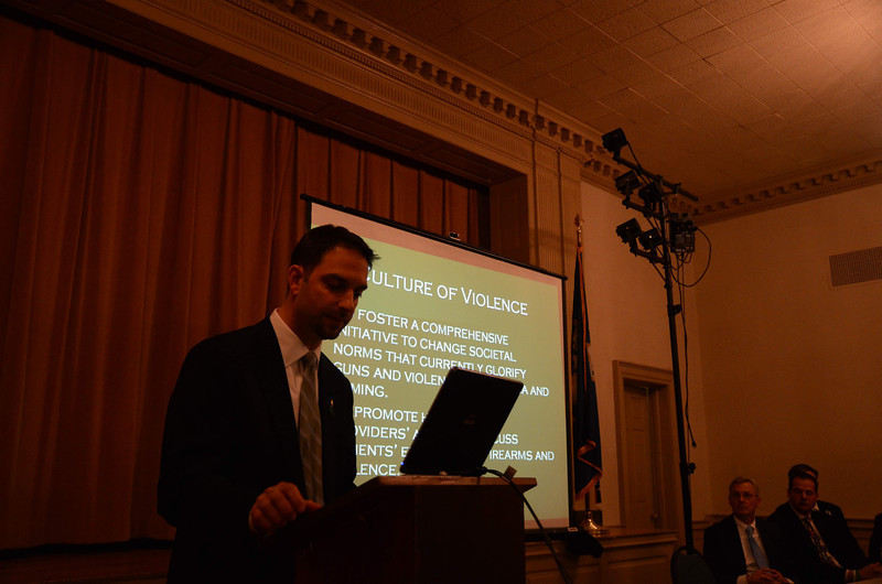 A public gathering of Physicians United Of Newtown (UPON) was held March 14 at Edmond Town Hall. The grassroots initiative is uniting around a four-point agenda to address gun violence. (Voket photo)
