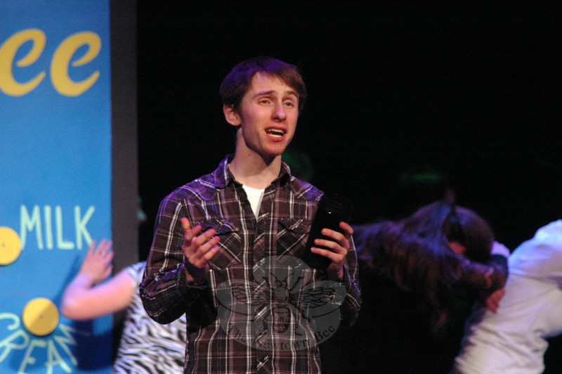 Josh Goldman as Frump performs during a rehearsal for the Newtown High School upcoming production of How To Succeed In Business Without Really Trying was held on Friday, March 15. (Hallabeck photo)