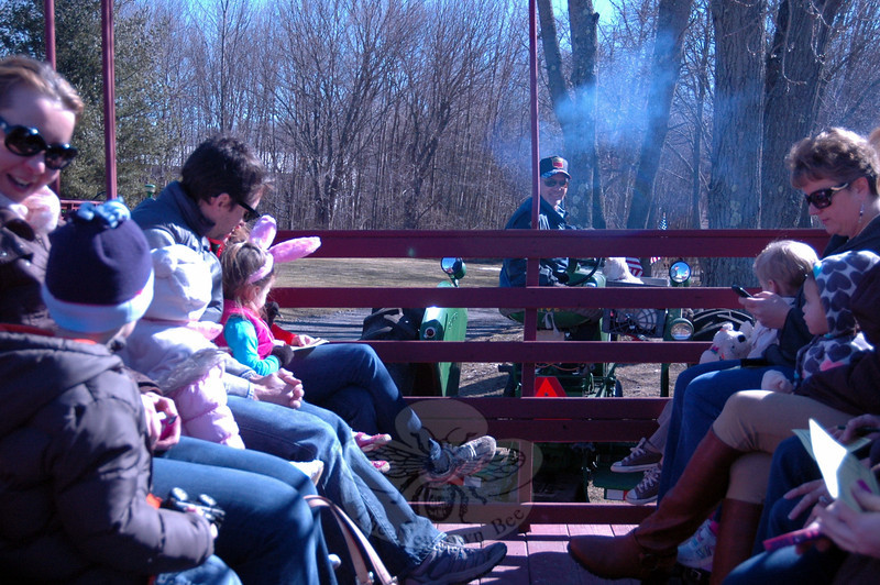 The third annual Bunny Watch, a fundraiser for local Odyssey of the Mind teams, was held on Friday, March 28. and Saturday, March 29.  A $5 donation for each person earned a spot on an antique tractor pulled wagon ride along paved walking paths near Glander Field on the Fairfield Hills Campus. Along with the ride, game stations were set up for lawn games, including egg tossing and egg rolling, as well as a game called Bunny Says, a team-created version of Simon Says. A giant slide inflatable ride, an egg hunt, and concessions for a nominal cost were also available. (Hallabeck photo)