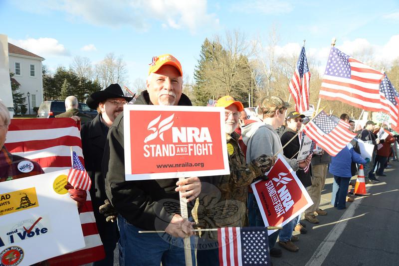 John Lubinski stands behind the National Rifle Association. (Bobowick photo)