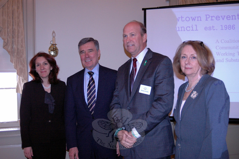"From left are Chief of Staff for the White House Office of National Drug Control Policy Regina La-belle, National Drug Control Policy Director R. Gil Kerlikowske, Newtown Police Chief and Newtown Prevention Council Co-Chair Michael Kehoe, and District Health Coordinator and Newtown Prevention Council Co-Chair Judy Blanchard prior to a Thursday, March 28, Prevention Council retreat, held at Edmond Town Hall. The retreat included a discussion with Director Kerlikowske and Ms Labelle, and the start of evaluating the work of the council and its goals. Director Kerlikowske said the work the council has accomplished since its inception since 1986 is important, and ""It's a wonderful collaboration."" (Hallabeck photo)"