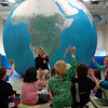 Claudette Wile, with EarthAdventure, visited Hawley Elementary School on Thursday, April 4, with a large Earth balloon, which students could venture in for a lesson.