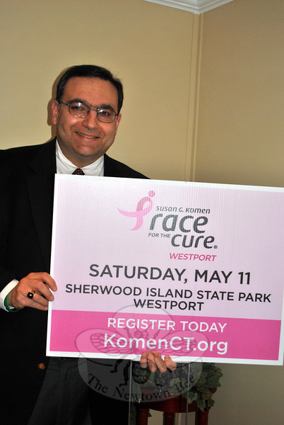 Robert Morey will be placing signage about Newtown, and using his professional and private contacts, in hopes of raising awareness about the Inaugural Komen Connecticut Race For The Cure, and to raise awareness about the prevalence of breast cancer in this state. (Crevier photo)