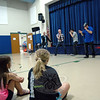 The a capella group Blue Jupiter sang for Hawley Elementary School students during one of two assemblies held on Thursday, June 20, in the school's gymnasium. The presentations were made possible by the school's PTA. (Hallabeck photo)