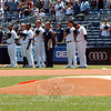 Members of the Yankees stand during the Newtown Day ceremony on Sunday, June 30. (Hutchison photo)