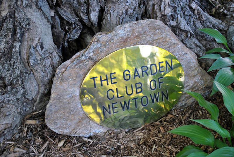 Still in its nascent stage, the knot garden at the C.H. Booth Library will be nurtured by the Garden Club of Newtown. (Crevier photo)