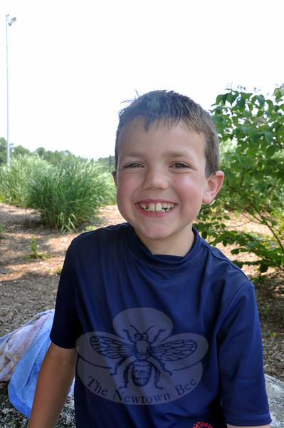 Newtown Bee: What is your favorite aquatic activity? Owen McAloon: Playing catch in the pool, because I play baseball. (Dietter photo)