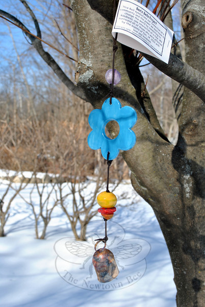 One of the Ben's Bells made in January hangs from a tree, waiting to be found. (Crevier photos)