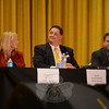 Six candidates addressed state issues in the 2012 Candidate's Debate sponsored by The New-town Bee, October 16. Fielding questions from the debate moderator, Newtown Bee Editor Curtiss Clark, center, were Robert Dombroski (D-112th), Lisa Romano (D-106th), Steven DeMoura (D-2nd), DebraLee Hovey (R-112th), Mitch Bolinsky (R-106th), photographed here, and Dan Carter (R-2nd). —Bee Photo, Bobowick (Bobowick photo)
