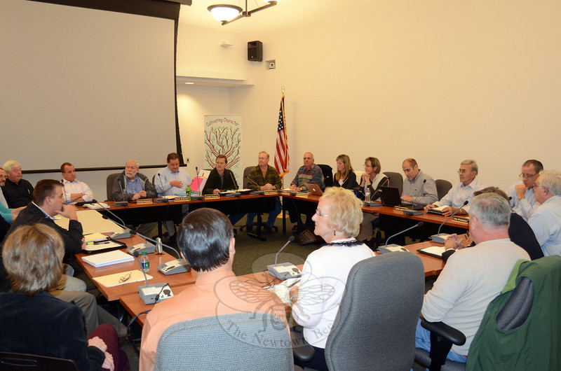 Members of the Boards of Education, Finance, and Selectmen joined the Legislative Council October 17 for the first of what may be several group meetings to help keep all of these key elected officials on the same page as the 2013-14 budget process begins in the coming weeks. (Voket photo)