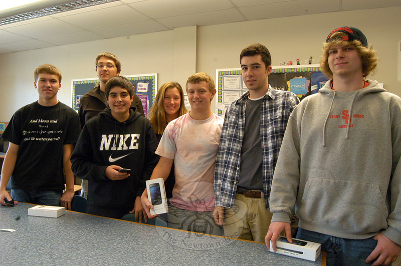 "Students in ""An App For That"" course at Newtown High School with course instructor Kristin Violette, fourth from left. (Hallabeck photo)"