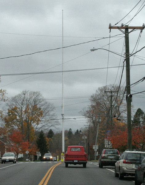 On Saturday, October 27, First Selectman Pat Llodra had the flag taken down off the Main Street flagpole, a visible sign of the town preparing for what was expected to be a storm of historic proportions by Monday evening. (Hicks photo)